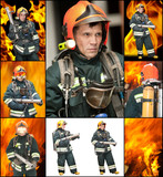 The fireman in regimentals against fire poster
