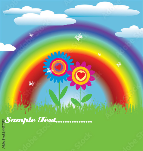 Bright spring with rainbow