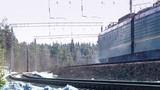 freight train in movement at winter day