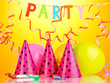 Party items on orange background