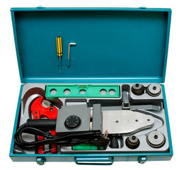A set of tools for welding plastic pipe isolated on a white