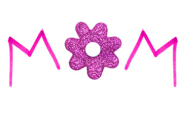 """MOM"" pink handwriting with glittery flower center"