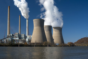 Three cooling towers (closed-loop system) at a power plant.