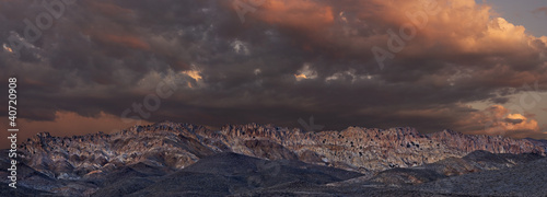 Panoramic of Gabbs Mountain Range at Sunset