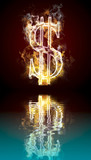 Dollar symbol burning, fire with reflection in water