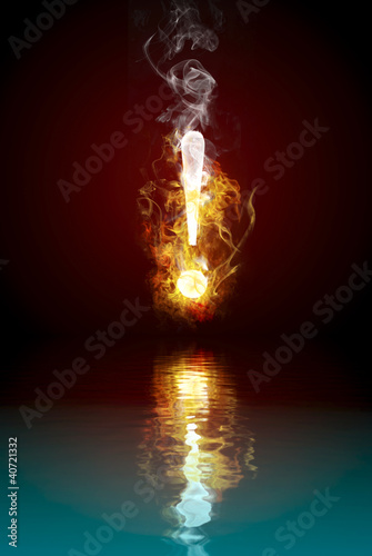 Exclamation symbol burning, fire reflected in rendered water
