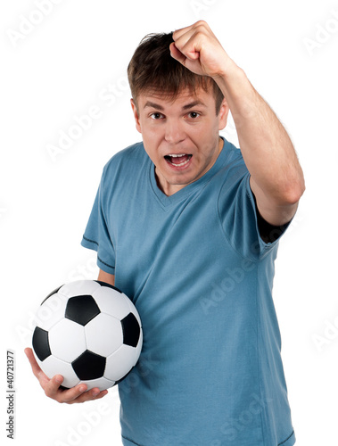 Man with classic soccer ball