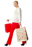 Pretty woman with shopping bags, walking