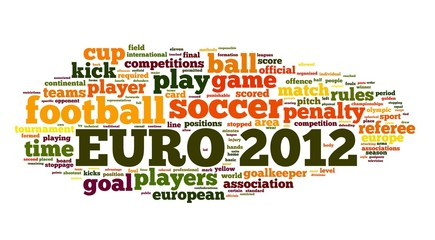 Euro 2012 football concept in word tag cloud