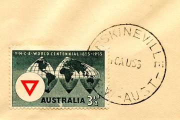 """Canceled australian stamp """"YMCA centennial"""""""