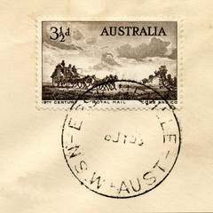 "Canceled australian stamp ""19th century royal mail"""