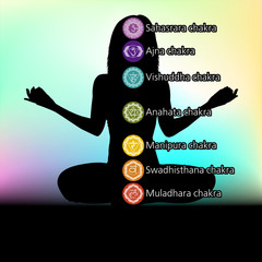 Silhouette of woman with symbols of chakra. EPS 8
