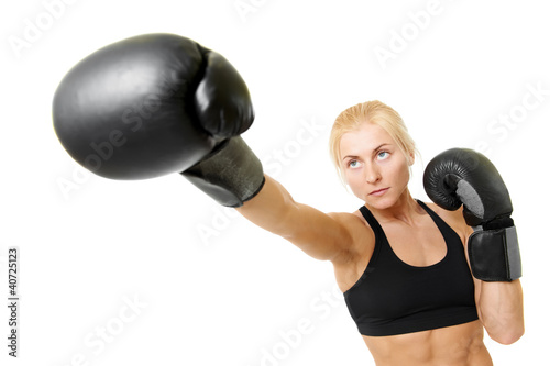 boxer woman with black boxing gloves