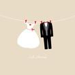 "Hanging Wedding Couple ""Just Married"" Beige"