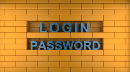 login, password and wall