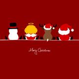 Santa, Angel, Reindeer & Snowman Red