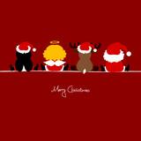 Santa, Angel, Reindeer & Penguin Red