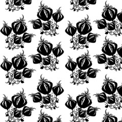 Black and White Floral Pattern, Seamless