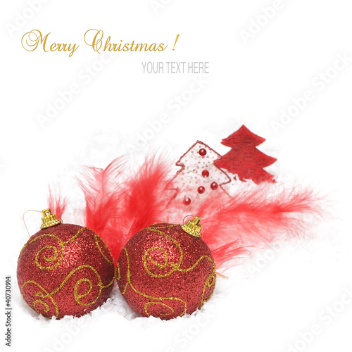 Christmas background with christmas balls feather and decoration