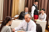 Business lunch restaurant people eating meal poster