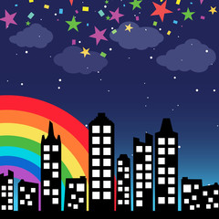 Cityscape background with rainbow