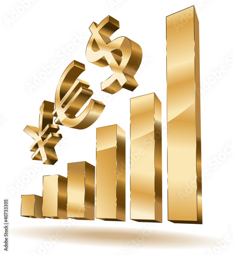 Business golden bars and yes - currency text