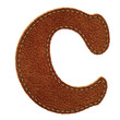 Leather alphabet. Leather textured letter C