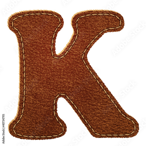 Leather alphabet. Leather textured letter K
