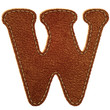 Leather alphabet. Leather textured letter W