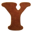 Leather alphabet. Leather textured letter Y