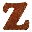 Leather alphabet. Leather textured letter Z