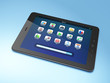 Beautiful black tablet pc on blue background