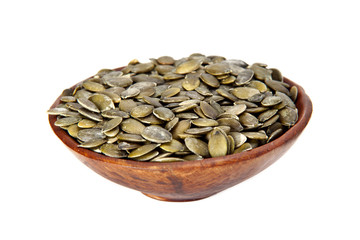 Dried pumpkin seeds.