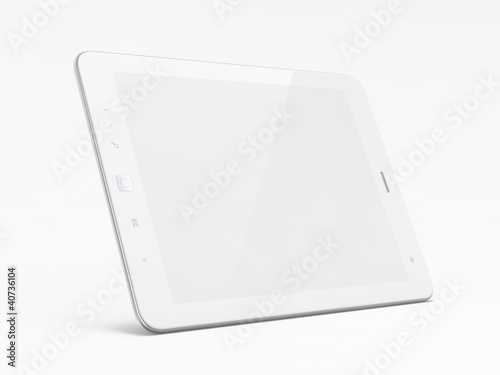 Leinwanddruck Bild Beautiful white tablet pc on white background