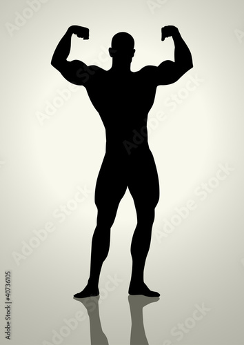 Silhouette illustration of a bodybuilder
