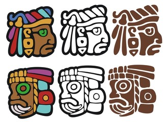 Mayan spot illustrations, with variations