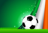 Vector illustration of a soccer ball with Ireland insignia poster
