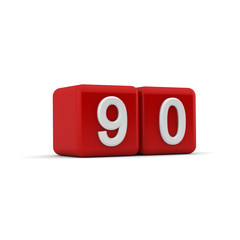 Red 3D block with number ninety