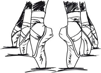 Sketch of ballet dancer's feet. Vector illustration