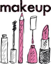 Szkic produktów makijażu. ilustracji wektorowych