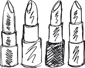 Sketch of Lipsticks isolated on a white background. Vector illus