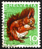 Postage stamp Switzerland 1966 Red Squirrel, Sciurus Vulgaris