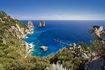 beautiful seascape on capri island, italy