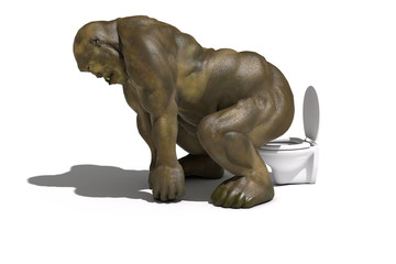Ogre on the toilet