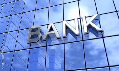 Bank Konzept Silber Blau
