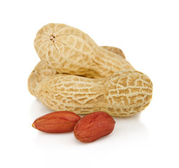 Peanuts pods withs seeds isolated on white