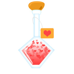 Love potion with heart on a label