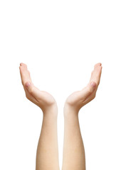 Two hands as symbol of care, clipping path