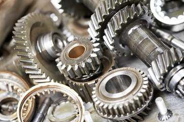 Close-up of automobile engine gears
