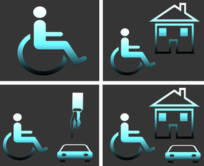 Wheelchair person, disabled symbol set